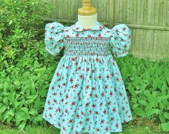 Christmas, Smocked dress, Toddler girl, Aqua dress, Red poinsettias, Holiday, Classic, OOAK, Handmade, Baby dress, Heirloom, Ready to ship