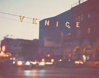 large wall decor, Venice beach sign, California photography,  LA photo, summer vacation, beach house, rainbow bokeh