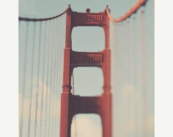 SALE Golden Gate Bridge photo, Bay area, San Francisco print, travel photography, architecture, red loft wall art, California, bienvenidos