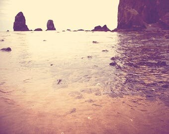 photography, Cannon Beach photograph, Haystack Rock the Needles, Oregon seaside tide pool, ocean landscape, orange peach plum beach decor