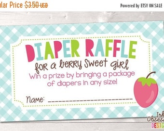 35% OFF SALE Berry Sweet Printable Diaper Raffle Ticket for Girls Baby Shower Games Instant Download PDF