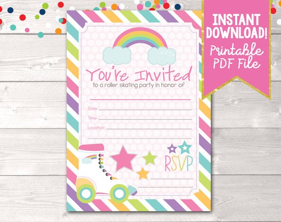 Fill In Roller Skating Party Invitations Printable Girls Birthday
