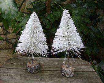 Farmhouse christmas tree Large glitter bottle brush trees white mini pine tree woodland christmas village crafts supplies
