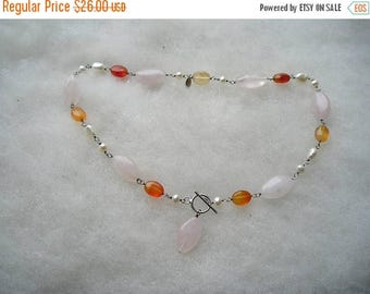 ON SALE Vintage Sterling Rose Quartz Pearl & Carnelian Toggle Necklace