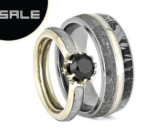 SALE - Black Diamond Ring Set, White Gold Wedding Rings With Meteorite, Space Ring Set, Meteorite Jewelry