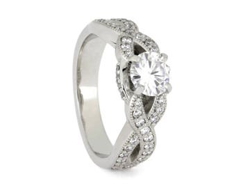 Moissanite Engagement Ring With Diamonds, Women's Platinum Engagement Ring, Twist Shank Wedding Ring