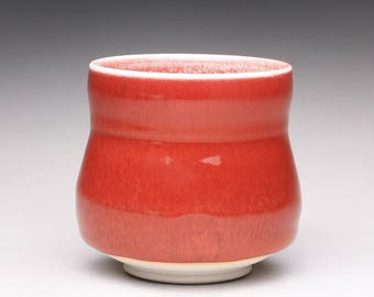 handmade porcelain cup, ceramic teacup, pottery yunomi with bright red and turquoise celadon glazes