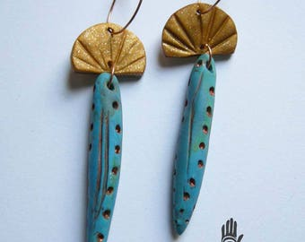 Blue and Gold Shell Earrings