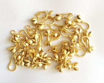 Gold plated Brass Bud Toggle Clasps - 2 set-(007-052)