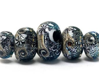 ON SALE 30% off Handmade Glass  Lampwork Beads - Five Graduated Sable Celestial Rondelle Beads 10204811