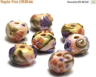 ON SALE 30% off Handmade Glass Lampwork Beads Set 11005801 - Seven Purple w/Orange Flora Rondelle Beads
