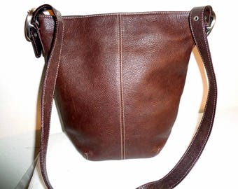 Tignanello Tig and CO soft thick grain deep brown leather  tote cross body bag purse vintage 80s pristine condition