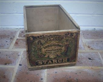 Antique Vintage Wood Wooden Box Crate Antique Vintage Starch Box Oswego Silver Gloss Starch Kingford & Son