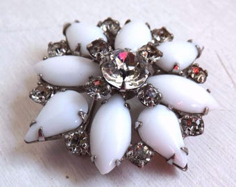 Vintage rhinestone brooch dimensional layered clear crystal and white milk glass stones silver tone metal prong set