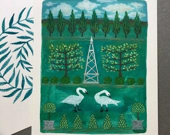 Trumpeter Swans and Obelisk, original watercolor painting
