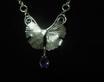 Sterling Silver Brutalist Ginkgo and Amethyst Necklace