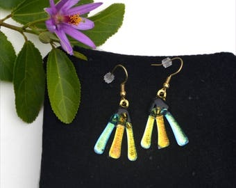 166 Dichroic fused glass earrings, three colors, gold, yellow green