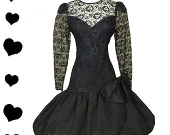 Vintage 80s Dress // Black Sheer Lace Prom Dance Dress L XL Cocktail Party BUBBLE Skirt Large Extra Large Big Bow Glam Queen Long Sleeves