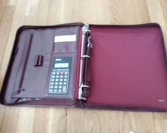 Buxton leather briefcase-portfolio-new-w/calculator!