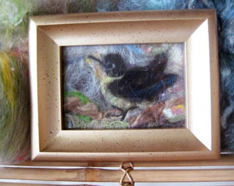 "Original Fiber Art 'Little bird' Collage Needle Felt Art 4""x6"" Hand Dyed Fibers Multi-Color Mostly Naturals Framed Shipping Bird in My Yard"