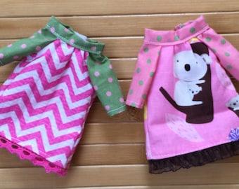 2 Dresses for Blythe - Pink Chevron Koala Bear