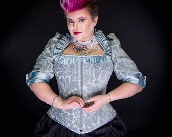 "Rococo Corset - Corseted Jacket Steel Boned - Marie Antoinette Wedding Victorian Adult Costume ""Marie Corset Jacket""- Custom to Order"