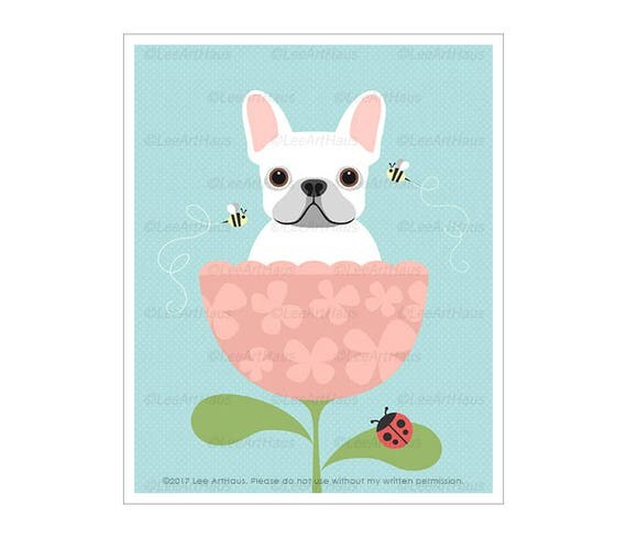 327D Dog Art Prints - White French Bulldog in Pink Flower Cup Wall Art - Pink Flower Print - French Bulldog Print - Pink Girl Nursery Decor