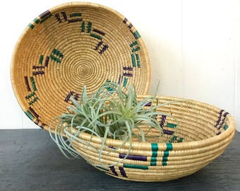 vintage coil baskets - round woven straw wall baskets - boho southwest - teal purple - Set of 2
