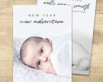 New Years Card Birth Announcement, Photo New Years Card, Holiday card, PRINTABLE, New Years Card (new year new adventure New Years card)