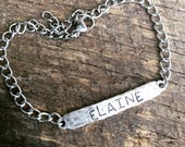 New Sterling Silver ID style bracelets Personalized just for You Hand Stamped rectangle
