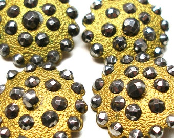 """Antique BUTTONS, 4 Victorian brass with cut steel, 3/4""""."""