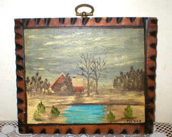 Brown Cabin Oil Painting 7X6 Pyrography Frame Vintage
