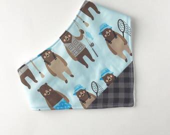 Blue Bears  & Plaid Bib - Bandana Bib - Baby - Baby Bandana Bib - Drooling - Baby Bib - Canada Bib - Gift for Baby - Canada 150 - Canada150