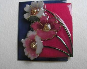 Signed Dalton Modernist Garden Flower Pin Pendant