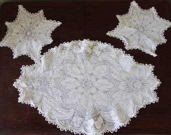 vintage  edwardian lace dressing table set