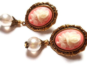 Cameo Earrings-Dangle Studs-Post Earrings-Victorian Style-Offbeat Bride-Pink Flower-Fashion Jewellery-Wedding Jewelry-Bridesmaid Gift-Flower