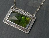 Tourmaline necklace / rose cut tourmaline / chrome green / dark green tourmaline / tourmaline crystal / tourmaline jewelry / gift for her