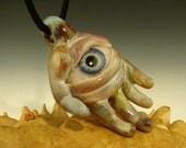 Glass 'Eye of the Hand' Pendant Eyeball Focal Bead Lampwork Borosilicate Totem Oddity VGW K Talamas