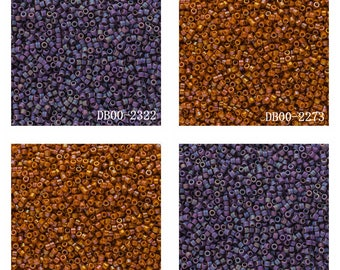 15 Grams Japanese Miyuki Delica 11/0 Beads -  Frosted Glazed Rainbow - Round 1.6mm (DB00)