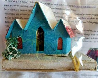 Four (4) Vintage Putz-style Houses, Christmas Decorations