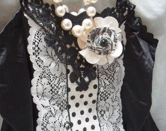 36% OFF Closet Cleaning TUNIC Top French Inspired, Whimsical Romantic Glam Girl Boho - Tunic - Black and Cream