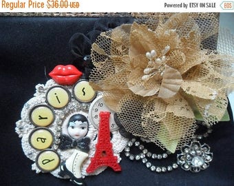 25% OFF Holiday Sale VINTAGE Altered Purse Clutch Handbag Reworked Embellished Adornments Paris Theme Whimsical