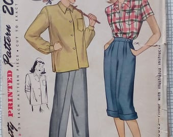 """Late 1940s / 1950s Shirt & Slacks - 32"""" Bust - Simplicity 1654 - Vintage Sewing Pattern"""