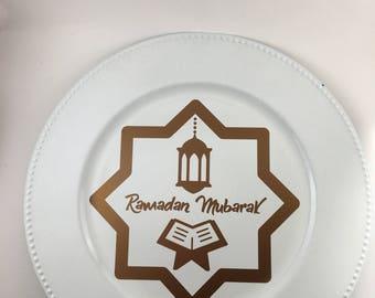 Ramadan Mubarak charger plate, copper color vinyl