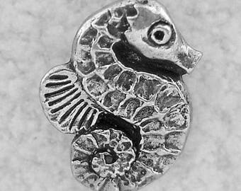 Green Girl Studios Seahorse Pewter Button