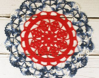 """Crocheted 4th of July Red White Blue Variegated Table Topper Doily - 10 1/2"""""""