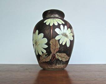20th Century European Ceramic Vase in Brown-Black and Green-Blue