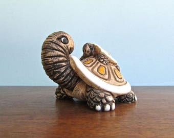 Artesania Rinconada Momma Turtle w/ Baby, Retired Fine Earthenware Ceramic from Uruguay