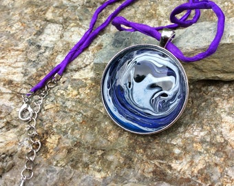 Cosmic Pendant - Lunar Pendant - Cosplay Pendant - Moon Pendant Necklace - Hand Painted Moon Necklace - Galaxy Necklace - Eclipse Necklace