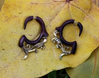 Fake Gauge Earrings,Wood Organic ,Tribal style,Expander ,faux gauge ,hand carved,naturally,fake piercing